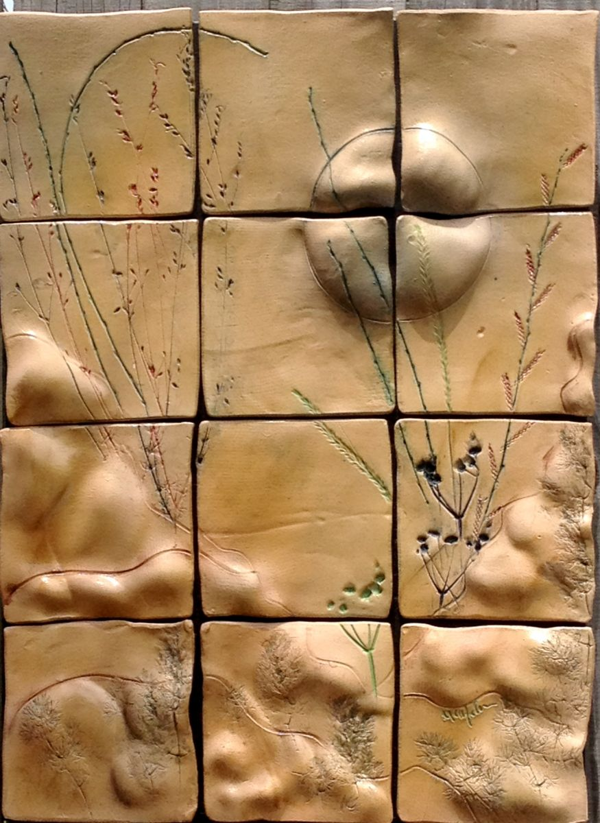 Thru The Golden Valley Ceramic Tile Wall Art Original Ceramic Art