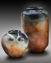 Two Urns.  Saggar Fired