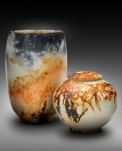 Tall Bowl with Lidded Jar, Saggar Fired
